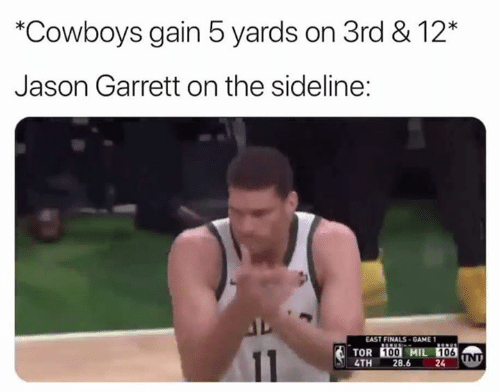 Dallas Cowboys, Finals, and Game: *Cowboys gain 5 yards on 3rd & 12*  Jason Garrett on the sideline:  EAST FINALS GAME 1  TOR İİİİ MIL 10E  4TH 28.6  24