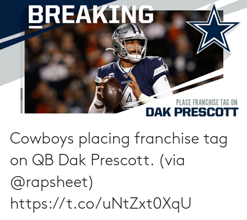 tag: Cowboys placing franchise tag on QB Dak Prescott. (via @rapsheet) https://t.co/uNtZxt0XqU