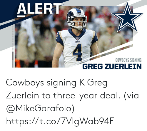 Dallas Cowboys: Cowboys signing K Greg Zuerlein to three-year deal. (via @MikeGarafolo) https://t.co/7VlgWab94F