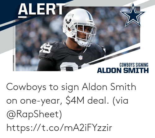 sign: Cowboys to sign Aldon Smith on one-year, $4M deal. (via @RapSheet) https://t.co/mA2iFYzzir