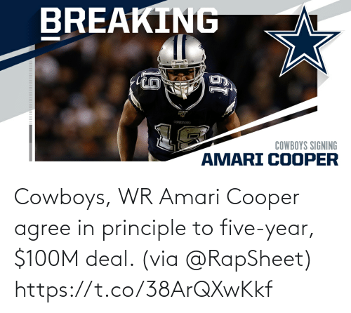 Dallas Cowboys: Cowboys, WR Amari Cooper agree in principle to five-year, $100M deal. (via @RapSheet) https://t.co/38ArQXwKkf