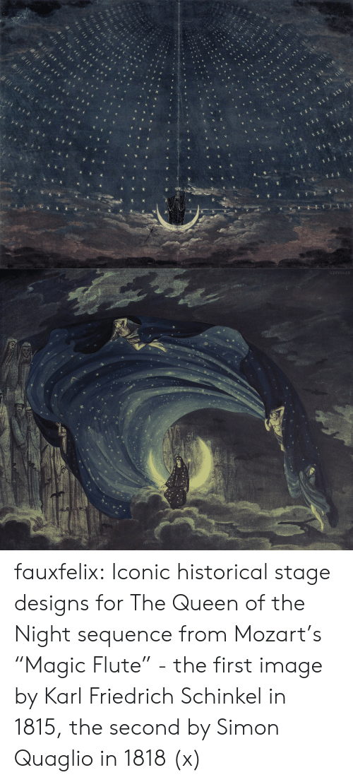 """Wordpress: cpress.cn fauxfelix: Iconic historical stage designs for The Queen of the Night sequence from Mozart's """"Magic Flute"""" - the first image by Karl Friedrich Schinkel in 1815, the second by Simon Quaglio in 1818 (x)"""