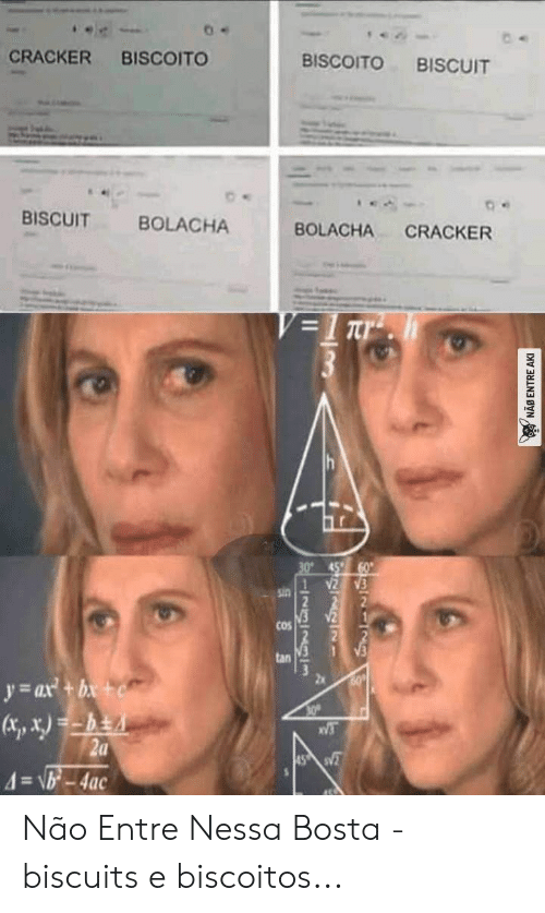 Nessa: CRACKER  BISCOITO  BISCOITO  BISCUIT  BISCUIT  BOLACHA  BOLACHA  CRACKER  V=1 Tr  30° 45  sin  COS  tan  60  y ax+b+  30  V3  2a  4=\b-4ac  45 S  I2323lm  NAB ENTRE AKI Não Entre Nessa Bosta - biscuits e biscoitos...