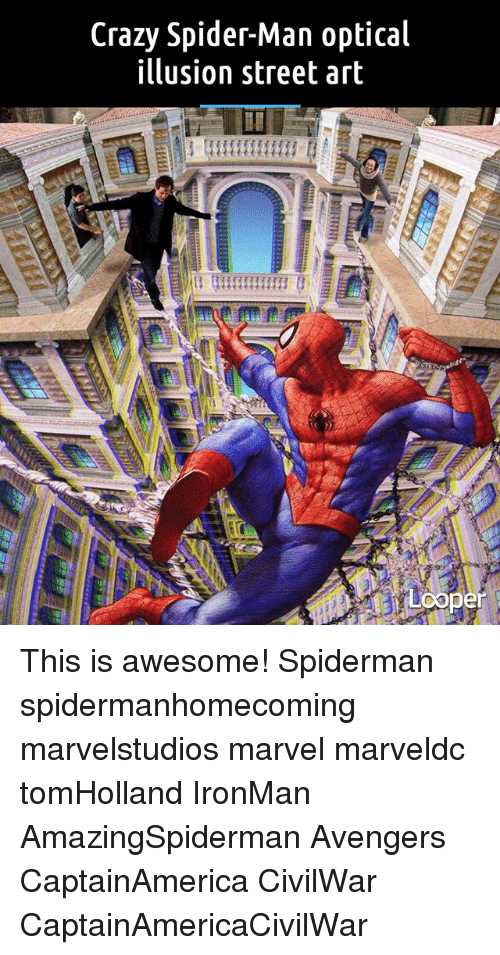 Optical Illusion: Crazy Spider-Man optical  illusion street art  coper This is awesome! Spiderman spidermanhomecoming marvelstudios marvel marveldc tomHolland IronMan AmazingSpiderman Avengers CaptainAmerica CivilWar CaptainAmericaCivilWar