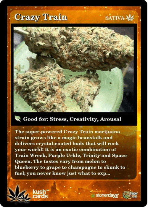 Crazy, Memes, and Queen: Crazy Train  SATIVA.  Good for: Stress, Creativity, Arousal  The super-powered Crazy Train marijuana  strain grows like a magic beanstalk and  delivers crystal-coated buds that will rock  your world! It is an exotic combination of  Train Wreck, Purple Urkle, Trinity and Space  Queen. The tastes vary from melon to  blueberry to grape to champagne to skunk to  fuel; you never know just what to exp...  kush  cards  Finder
