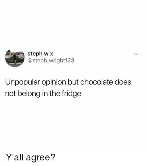 Memes, Chocolate, and 🤖: , CREA steph w x  @steph wright 123  Unpopular opinion but chocolate does  not belong in the fridge Y'all agree?