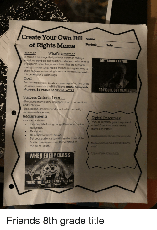Create Your Own Bill Name of Rights Meme PerlodDater Meme