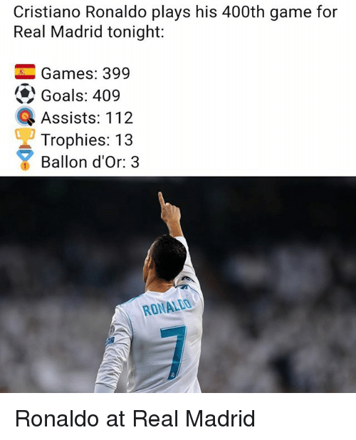 Cristiano Ronaldo, Goals, and Memes: Cristiano Ronaldo plays his 400th game for  Real Madrid tonight:  -Games: 399  Goals: 409  Q Assists: 112  Trophies: 13  Ballon d'Or: 3  RONALEO Ronaldo at Real Madrid