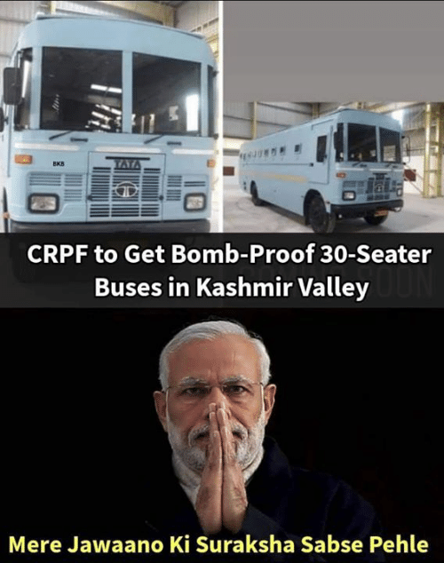 Memes, 🤖, and Proof: CRPF to Get Bomb-Proof 30-Seater  Buses in Kashmir Valley  Mere Jawaano Ki Suraksha Sabse Pehle