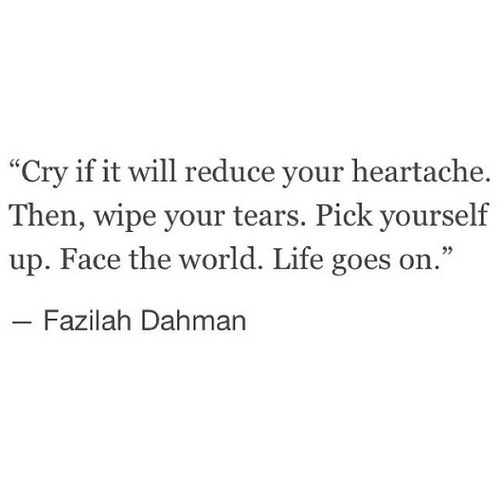 """life goes on: """"Cry if it will reduce your heartache.  Then, wipe your tears. Pick yourself  up. Face the world. Life goes on.""""  Fazilah Dahman"""