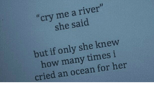 """how many times: cry me a river""""  she said  but if only she knew  how many times i  cried an ocean for her"""