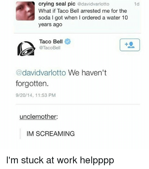belling: crying seal pic @davidvarlotto  What if Taco Bell arrested me for the  soda I got when I ordered a water 10  years ago  1d  Taco Bell  @TacoBell  @davidvarlotto We haven't  forgotten.  9/20/14, 11:53 PM  unclemother  IM SCREAMING I'm stuck at work helpppp