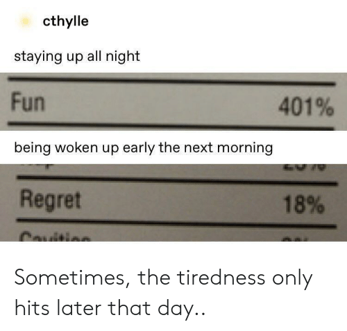 Up Early: cthylle  staying up all night  Fun  401%  being woken up early the next morning  Regret  18%  Cauitis Sometimes, the tiredness only hits later that day..