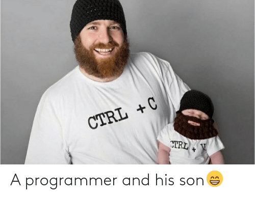 Trl, Son, and Programmer: CTRL + C  TRL V A programmer and his son😁