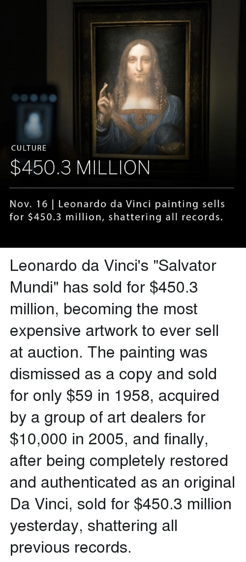"""Leonardo da Vinci: CULTURE  $450.3 MILLION  Nov. 16 