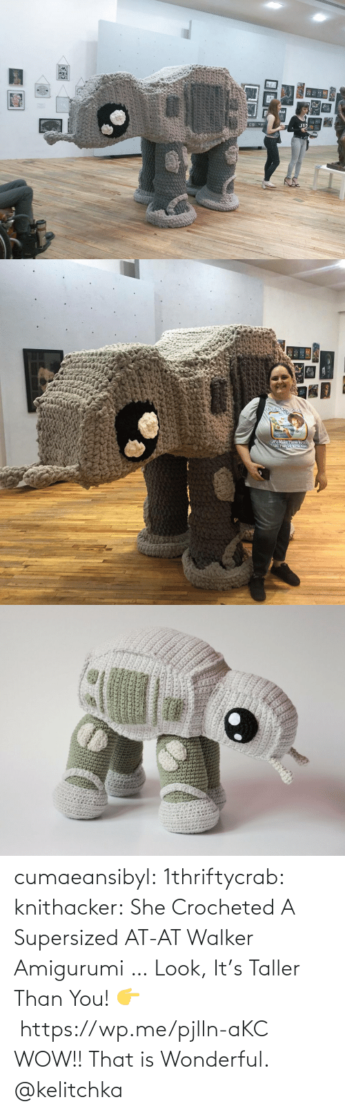 tmblr: cumaeansibyl: 1thriftycrab:  knithacker:  She Crocheted A Supersized AT-AT Walker Amigurumi … Look, It's Taller Than You! 👉 https://wp.me/pjlln-aKC  WOW!! That is Wonderful.   @kelitchka