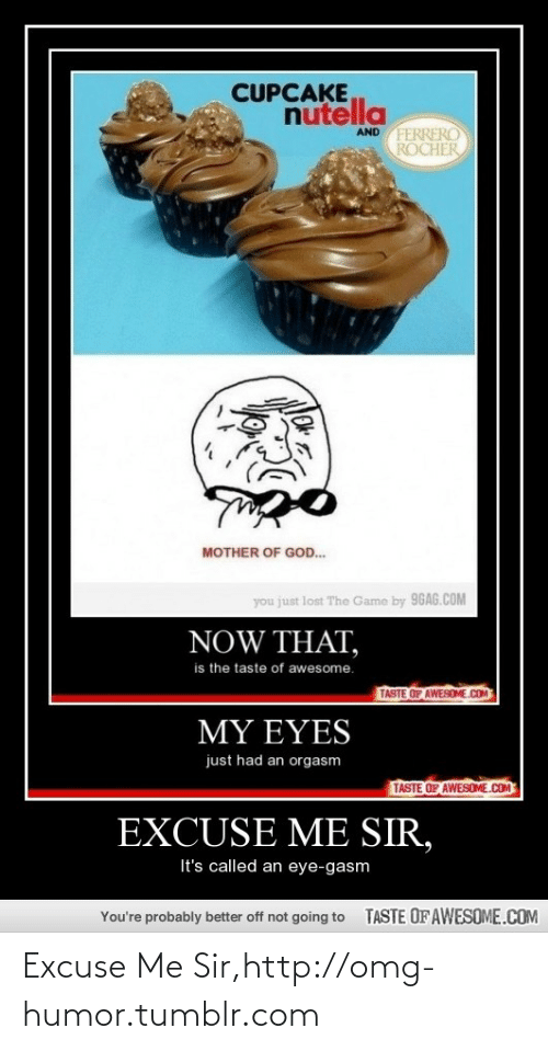 You Just Lost The Game: CUPCAKE  nutella  AND FERRERO  ROCHER  MOTHER OF GOD.  you just lost The Game by 96AG.COM  NOW THAT,  is the taste of awesome.  TASTE OF AWESOME.COM  MY EYES  just had an orgasm  TASTE OF AWESOME.COM  EXCUSE ME SIR,  It's called an eye-gasm  TASTE OF AWESOME.COM  You're probably better off not going to Excuse Me Sir,http://omg-humor.tumblr.com