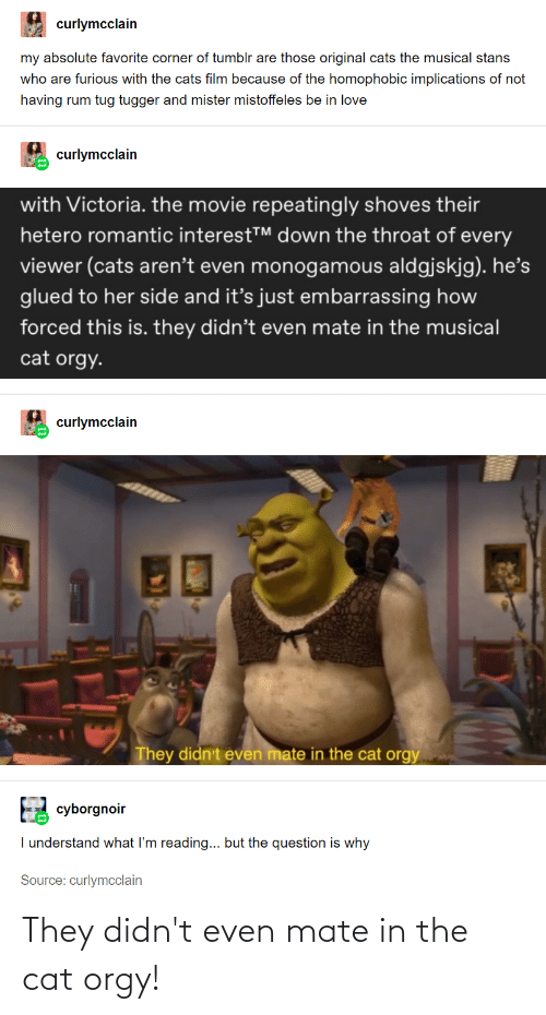 Repeatingly: curlymcclain  my absolute favorite corner of tumblr are those original cats the musical stans  who are furious with the cats film because of the homophobic implications of not  having rum tug tugger and mister mistoffeles be in love  curlymcclain  with Victoria. the movie repeatingly shoves their  hetero romantic interestT down the throat of every  viewer (cats aren't even monogamous aldgjskjg). he's  glued to her side and it's just embarrassing how  forced this is. they didn't even mate in the musical  cat orgy.  curlymcclain  30  They didn't even mate in the cat orgy  cyborgnoir  I understand what I'm reading... but the question is why  Source: curlymcclain They didn't even mate in the cat orgy!