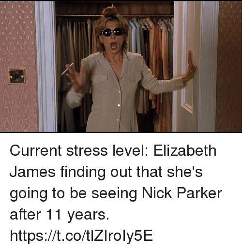 Stress Level: Current stress level: Elizabeth James finding out that she's going to be seeing Nick Parker after 11 years. https://t.co/tlZIroIy5E
