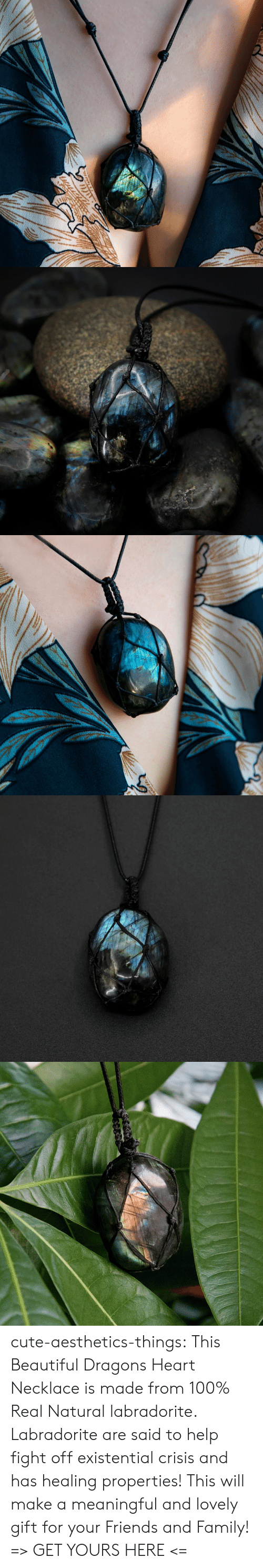 Beautiful, Cute, and Family: cute-aesthetics-things: This Beautiful Dragons Heart Necklace is made from 100% Real Natural labradorite. Labradorite are said to help fight offexistential crisis and has healing properties! This will make a meaningful and lovely gift for your Friends and Family! => GET YOURS HERE <=