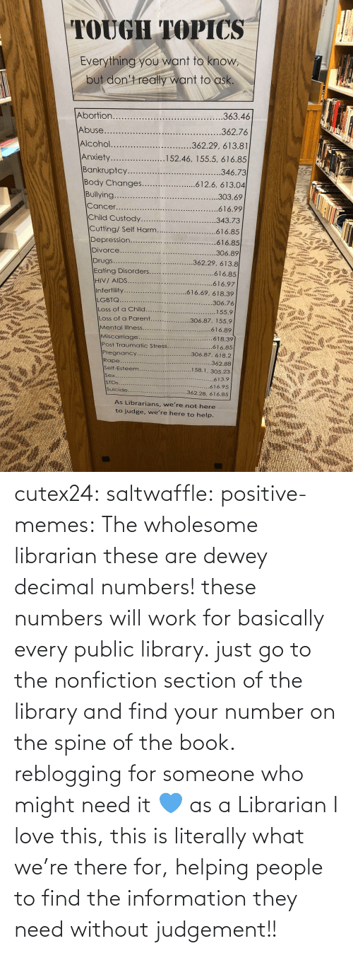 helping: cutex24: saltwaffle:  positive-memes:  The wholesome librarian  these are dewey decimal numbers! these numbers will work for basically every public library. just go to the nonfiction section of the library and find your number on the spine of the book. reblogging for someone who might need it 💙  as a Librarian I love this, this is literally what we're there for, helping people to find the information they need without judgement!!
