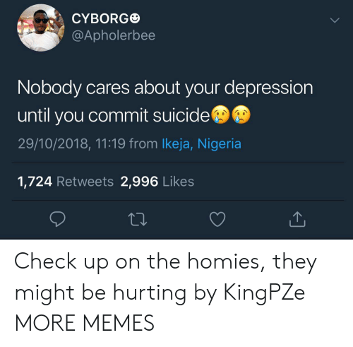 Nigeria: CYBORG  @Apholerbee  Nobody cares about your depression  until you commit suicide  29/10/2018, 11:19 from lkeja, Nigeria  1,724 Retweets 2,996 Likes Check up on the homies, they might be hurting by KingPZe MORE MEMES