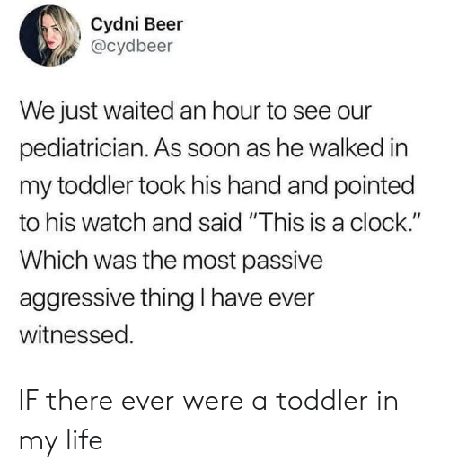 "Beer, Clock, and Life: Cydni Beer  @cydbeer  We just waited an hour to see our  pediatrician. As soon as he walked in  my toddler took his hand and pointed  to his watch and said ""This is a clock.""  Which was the most passive  aggressive thing I have ever  witnessed. IF there ever were a toddler in my life"
