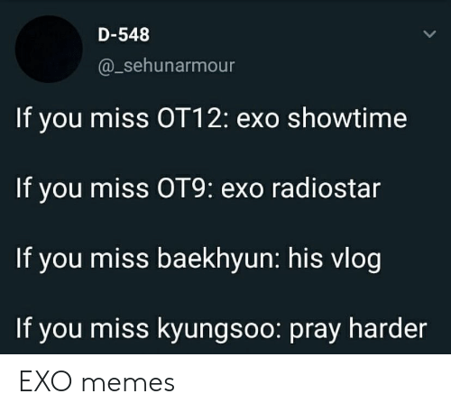 Showtime: D-548  @_sehunarmour  If you miss OT12: exo showtime  If you miss OT9: exo radiostar  If you miss baekhyun: his vlog  If you miss kyungsoo: pray harder EXO memes