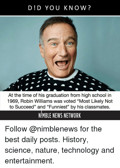 "Robin Williams: D!D YOU KNOW?  At the time of his graduation from high school in  1969, Robin Williams was voted ""Most Likely Not  to Succeed"" and ""Funniest"" by his classmates  NMBLE NEWS NETWORK Follow @nimblenews for the best daily posts. History, science, nature, technology and entertainment."