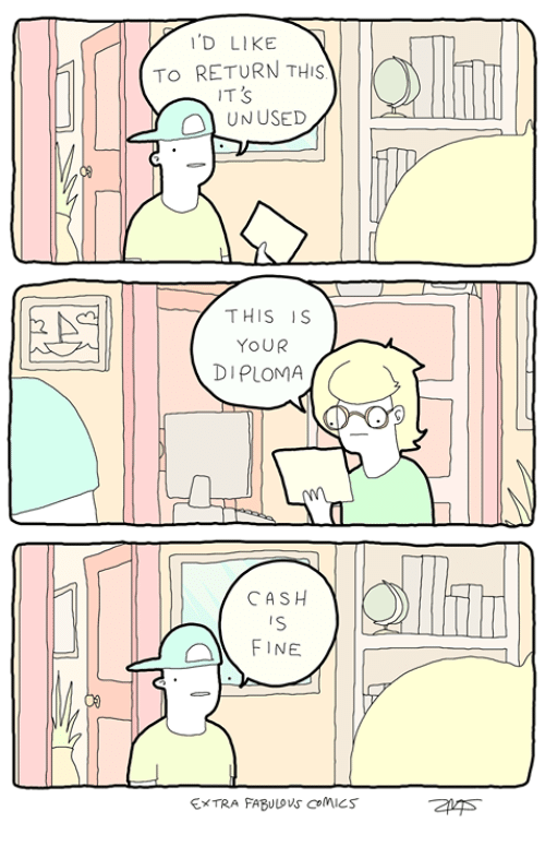 Memes, Comics, and 🤖: D LIKE  | |  TO RETURN THIS)| |k  IT S  OL UNUSED  THIS IS  YOUR  DIPLOMA  CASH  FINE  EXTRA FABULOVS CoMiCS