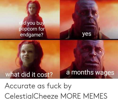 Dank, Memes, and Target: d you bu  popcorn for  endgame?  dic  yes  amonths wages  what did it cost?  2 Accurate as fuck by CelestialCheeze MORE MEMES