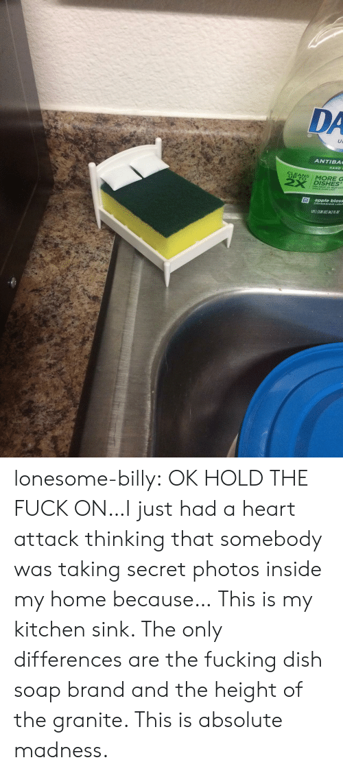 madness: DA  ANTIBA  HAND  UP TO  2X DISHES  PER DROP VS NON-ULT  WHILE SUDS LAST  apple bloss  DISHWASHING LIQUR  LOL (LO60T) 342 lonesome-billy:  OK HOLD THE FUCK ON…I just had a heart attack thinking that somebody was taking secret photos inside my home because… This is my kitchen sink. The only differences are the fucking dish soap brand and the height of the granite. This is absolute madness.