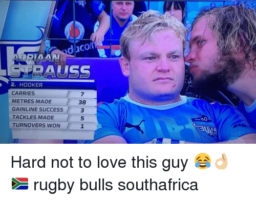 Hookers, Love, and Bulls: daco  RIAAN  RAUSS  2. HOOKER  CARRIES  METRES MADE  GAINLINE SUCCESS  TACKLES MADE  TURNOVERS WON  7  38  3  5  1  LIVE Hard not to love this guy 😂👌🏼🇿🇦 rugby bulls southafrica