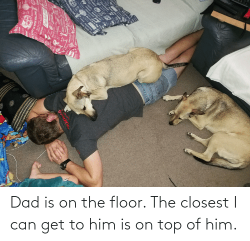Can Get: Dad is on the floor. The closest I can get to him is on top of him.