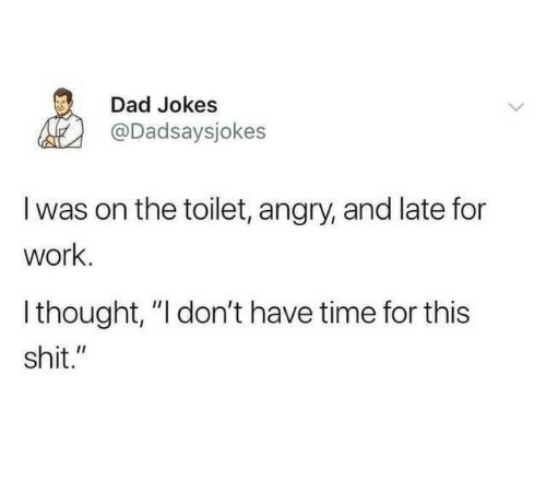 """Dad, Shit, and Work: Dad Jokes  @Dadsaysjokes  I was on the toilet, angry, and late for  work.  Ithought, """"I don't have time for this  shit."""""""