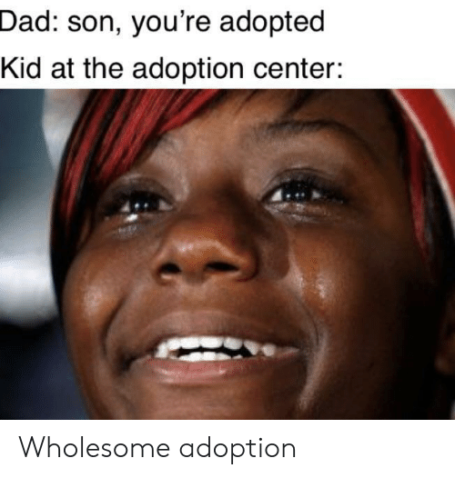 Dad, Wholesome, and Kid: Dad: son, you're adopted  Kid at the adoption center: Wholesome adoption