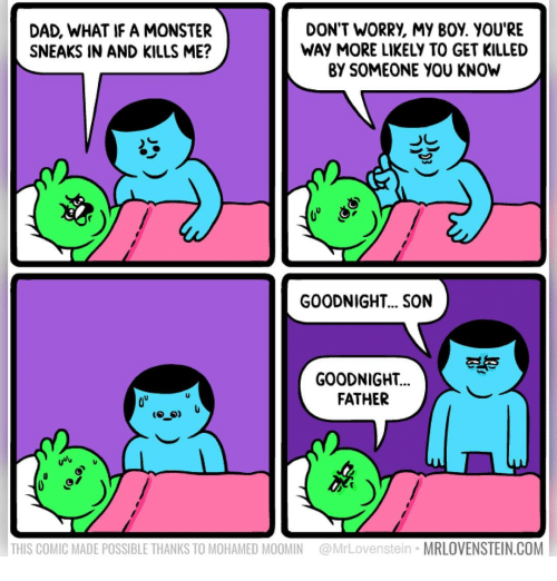 Dad, Memes, and Monster: DAD, WHAT IF A MONSTER  SNEAKS IN AND KILLS ME?  DON'T WORRY, MY BOY. YOU'RE  WAY MORE LIKELY TO GET KILLED  BY SOMEONE YOU KNOW  GOODNIGHT... SON  ES  GOODNIGHT..  FATHER  THIS COMIC MADE POSSIBLE THANKS TO MOHAMED MOOMIN @MrLovenstein MRLOVENSTEIN.COM