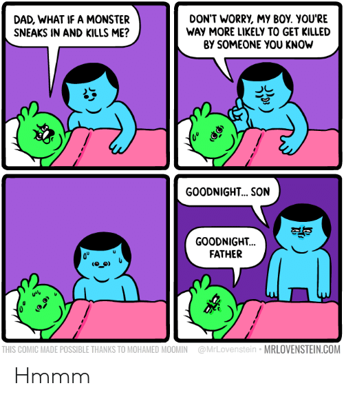 Dad, Monster, and Boy: DAD, WHAT IF A MONSTER  SNEAKS IN AND KILLS ME?  DON'T WORRY, My BOY. YOU'RE  WAY MORE LIKELY TO GET KILLED  BY SOMEONE YOU KNOW  GOODNIGHT... .SON  GOODNIGHT..  FATHER  uvv  THIS COMIC MADE POSSIBLE THANKS TO MOHAMED MOOMIN @MrLovenstein MRLOVENSTEIN.COM Hmmm