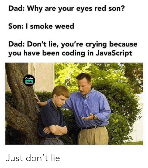 Smoke Weed: Dad: Why are your eyes red son?  Son: I smoke weed  Dad: Don't lie, you're crying because  you have been coding in JavaScript  Code  hub Just don't lie