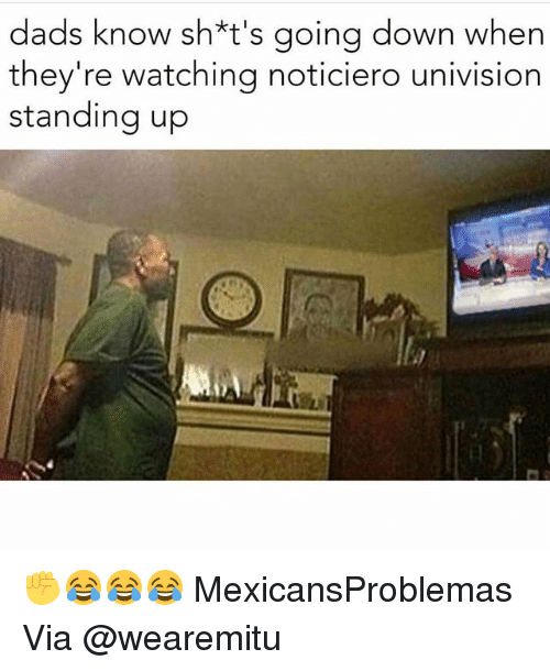 univision: dads know sh*t's going down when  they're watching noticiero univision  standing up ✊️😂😂😂 MexicansProblemas Via @wearemitu