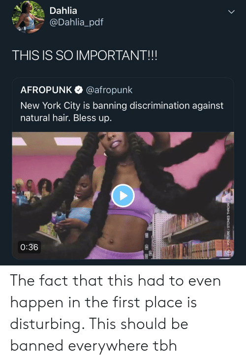 Bless Up, Memes, and New York: Dahlia  @Dahlia_pdf  THIS IS SO IMPORTANT!!!  AFROPUNK @afropunk  New York City is banning discrimination against  natural hair. Bless up.  0:36 The fact that this had to even happen in the first place is disturbing. This should be banned everywhere tbh