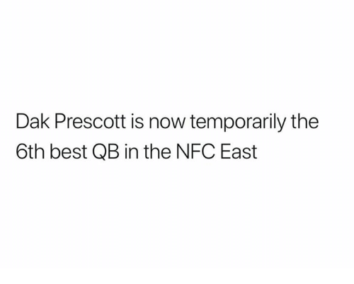 Nfl, Best, and Nfc: Dak Prescott is now temporarily the  6th best QB in the NFC East