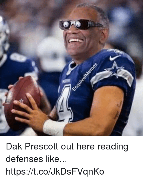 Reading, Like, and Out: Dak Prescott out here reading defenses like... https://t.co/JkDsFVqnKo