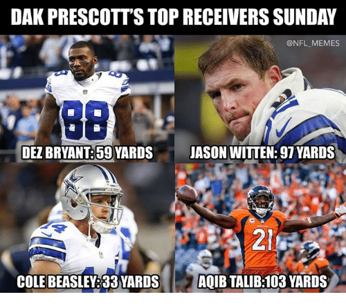 Dez Bryant, Memes, and Nfl: DAK PRESCOTT'S TOP RECEIVERS SUNDAY  @NFL_MEMES  DEZ BRYANT:59 YARDSJASON WITTEN: 97 YARDS  214  COLE BEASLEY:33 YARDSAQIB TALIB:103 YARDS
