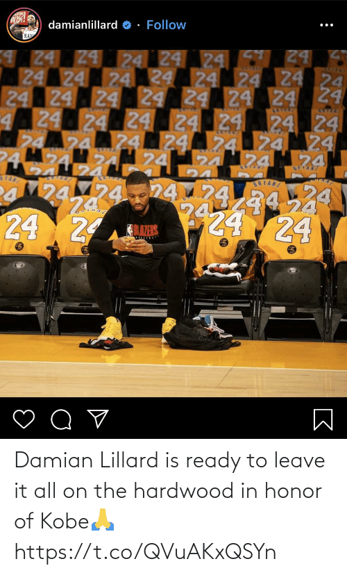 In Honor Of: Damian Lillard is ready to leave it all on the hardwood in honor of Kobe🙏 https://t.co/QVuAKxQSYn