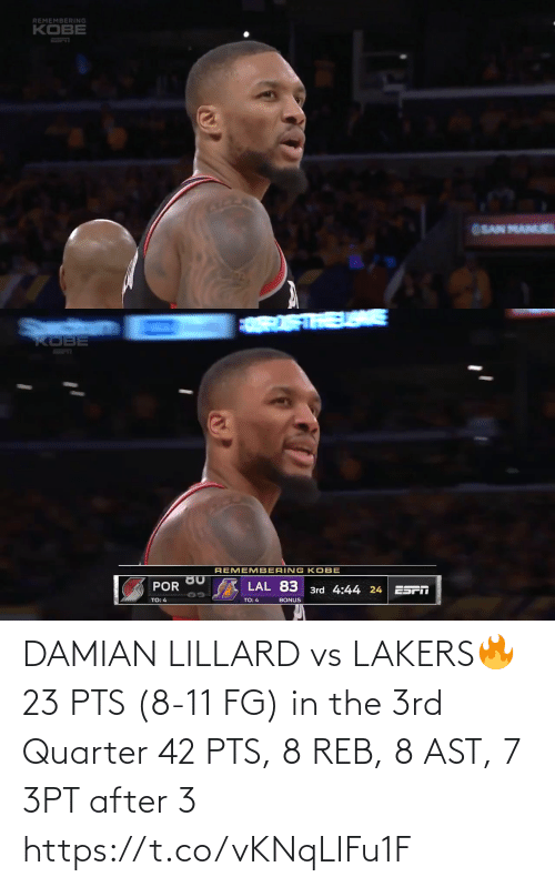 Los Angeles Lakers: DAMIAN LILLARD vs LAKERS🔥 23 PTS (8-11 FG) in the 3rd Quarter 42 PTS, 8 REB, 8 AST, 7 3PT after 3   https://t.co/vKNqLIFu1F