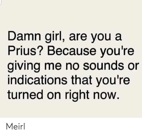 turned on: Damn girl, are you a  Prius? Because you're  giving me no sounds or  indications that you're  turned on right now. Meirl