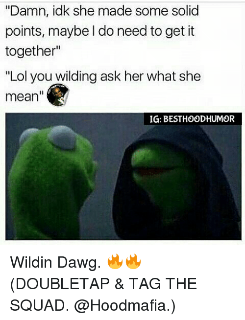 """Lol You Wild: """"Damn, idk she made some solid  points, maybe do need to get it  together""""  """"Lol you wilding ask her what she  mean  IG: BESTHOODHUMOR Wildin Dawg. 🔥🔥 (DOUBLETAP & TAG THE SQUAD. @Hoodmafia.)"""