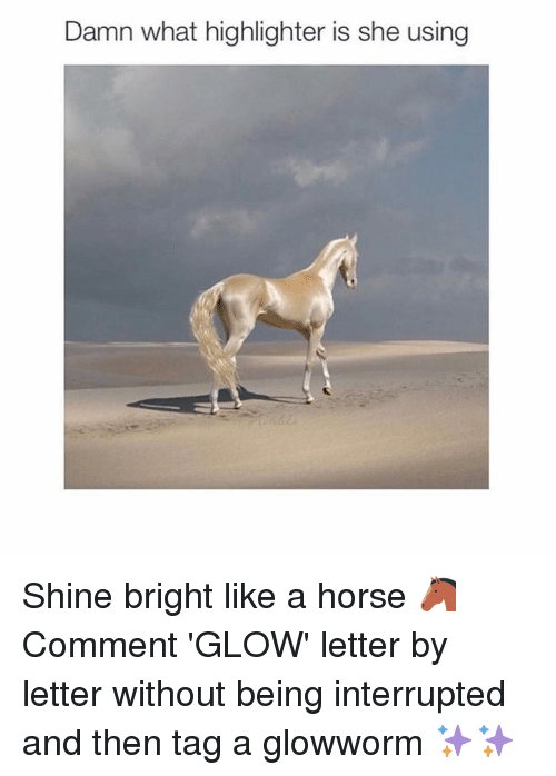 shine bright: Damn what highlighter is she using Shine bright like a horse 🐴 Comment 'GLOW' letter by letter without being interrupted and then tag a glowworm ✨✨
