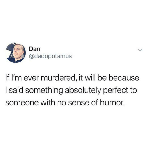 Funny, Tumblr, and Will: Dan  @dadopotamus  If I'm ever murdered, it will be because  I said something absolutely perfect to  someone with no sense of humor.